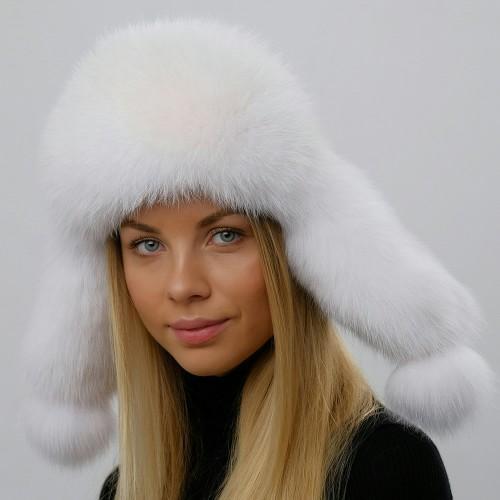 Белая шапка ушанка Зимушка