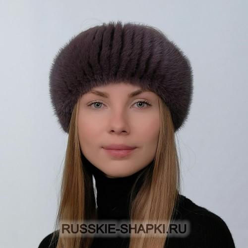 Женская меховая шапка из вязаной норки сирень