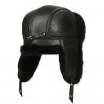 Черная мужская шапка ушанка