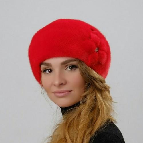 Шапка Берет Роза цвет красный