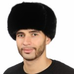 Черная мужская шапка из норки