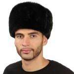Черная мужская норковая шапка