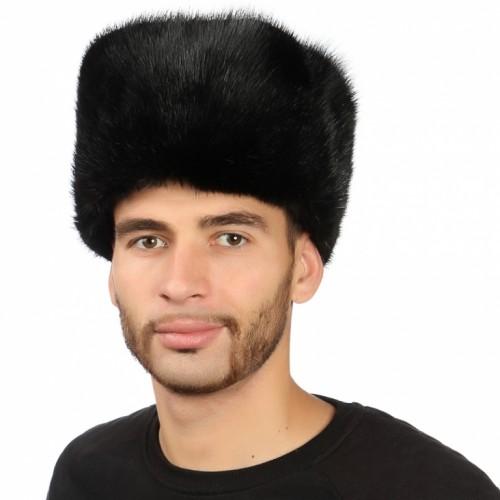 Черная мужская шапка из ондатры