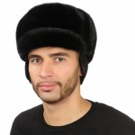 Черная мужская шапка из меха норки