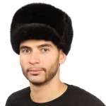 Коричневая мужская шапка из норки