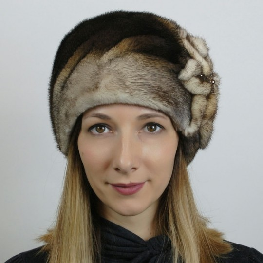 Норковая шапка Цветок