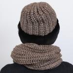 Комплект шапка и шарф из кролика цвета махагон
