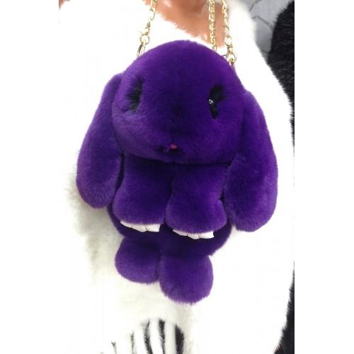 """Меховая сумка-рюкзак """"ЗАЙКА"""" фиолетовый"""