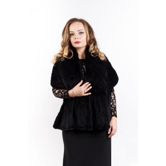 """Палантин """"Ёлочка"""" из вязаной норки черный"""