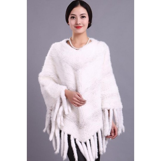 Пончо из вязаной норки белое