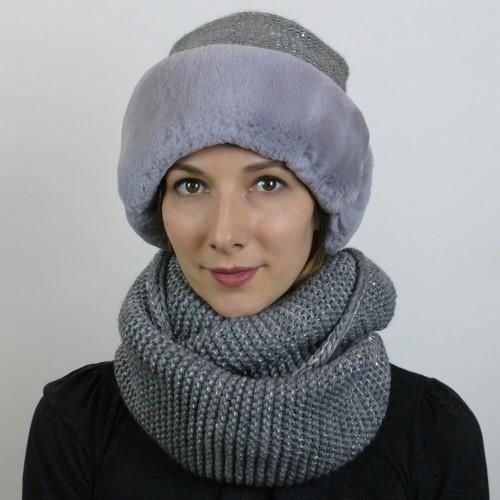 Шапка и шарф из кролика