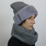 Голубой комплект шапка и шарф
