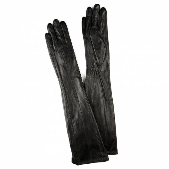 Перчатки кожаные Длинные Черные