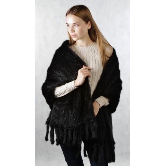 Палантин из вязаной норки черный