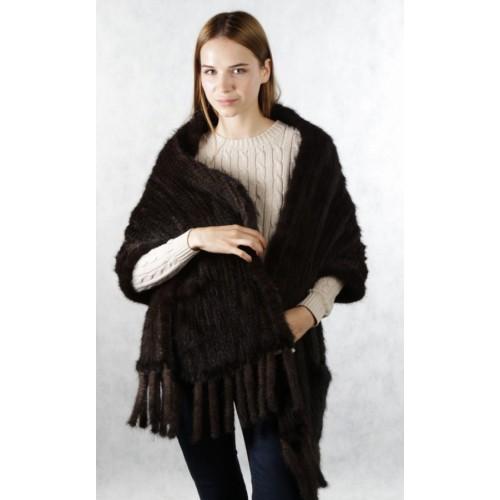 Палантин из вязаной норки коричневый