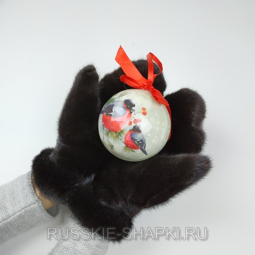 Черные женские норковые варежки