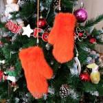Вязаные норковые варежки (оранжевые)