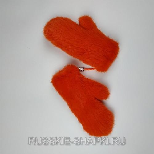 Оранжевые норковые варежки